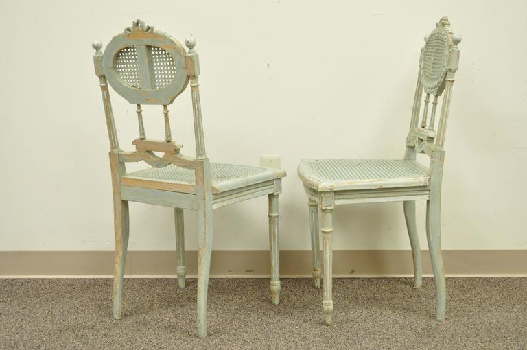 5 Piece French Louis XVI Style Distress Painted Parlor or Salon Suite For Sale 1