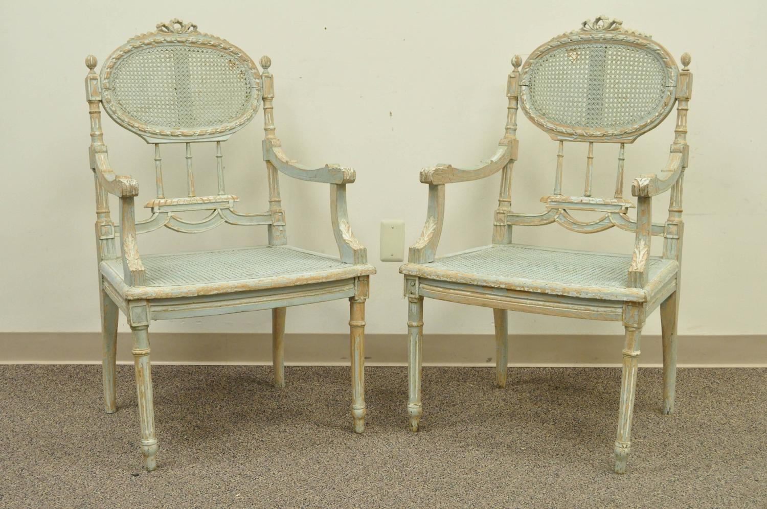 5 Piece French Louis Xvi Style Distress Painted Parlor Or