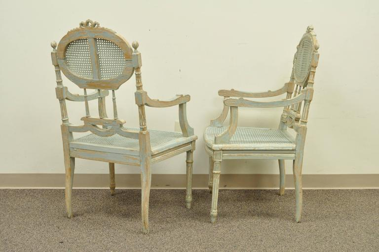 Wood 5 Piece French Louis XVI Style Distress Painted Parlor or Salon Suite For Sale