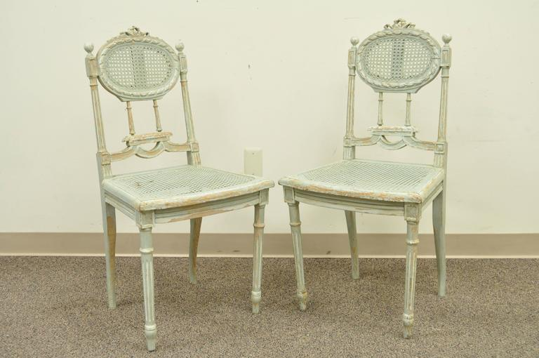 Early 20th Century 5 Piece French Louis XVI Style Distress Painted Parlor or Salon Suite For Sale