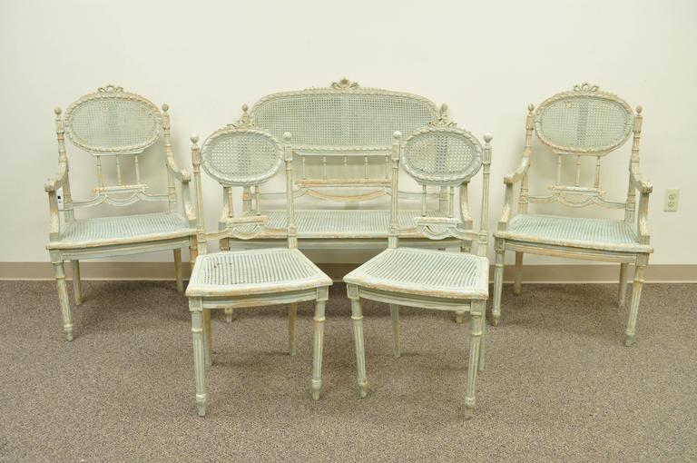 5 Piece French Louis XVI Style Distress Painted Parlor or Salon Suite For Sale 5