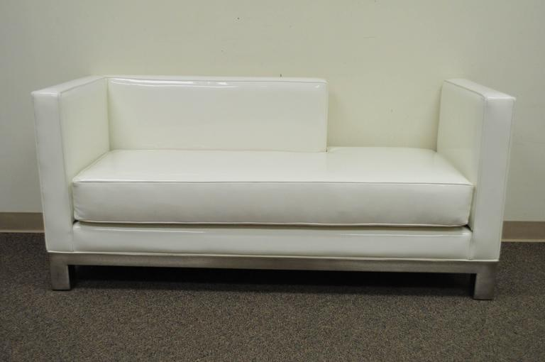 Unique Pair Of Right And Left White Vinyl And Brushed Metal Chaise Lounges  Or Sofas By