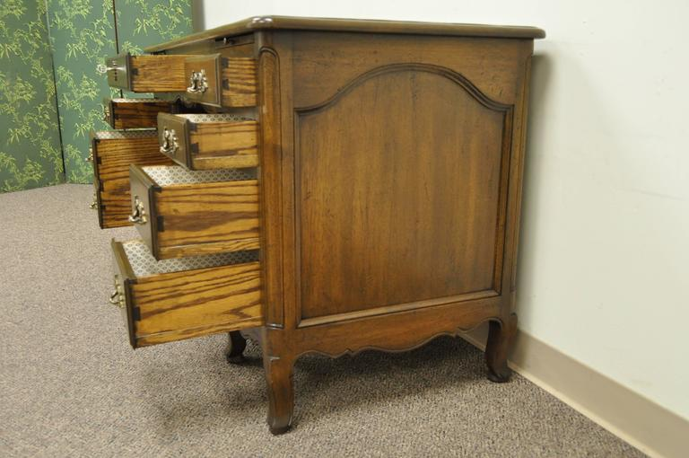 Vintage Country French Louis XV Provincial Style Walnut Kneehole Writing Desk