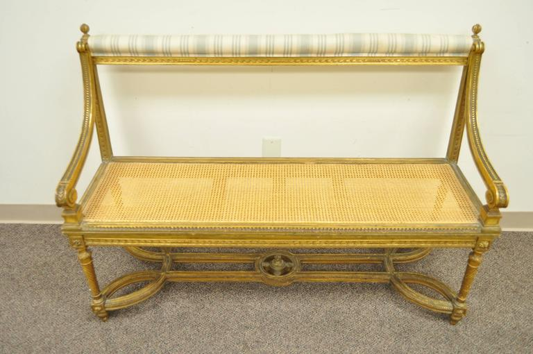 French Louis XVI Style Gold Giltwood Carved Bench or Settee, circa 1900 In Good Condition For Sale In Philadelphia, PA