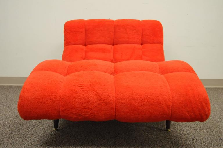 Vintage Mid Century Modern Double Wide Wave Chaise Lounge For Sale