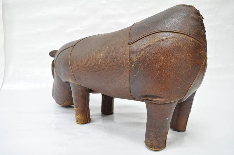 1970s Sarreid Distressed Leather Rhinoceros Footstool after Abercrombie & Fitch For Sale 1