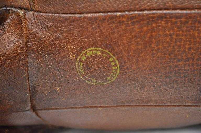 1970s Sarreid Distressed Leather Rhinoceros Footstool after Abercrombie & Fitch For Sale 4