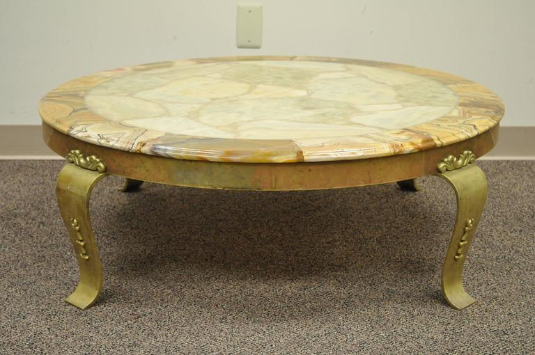 Lacquered Brass and Onyx Round Coffee Table by Muller's of Mexico Attr. to Arturo Pani For Sale