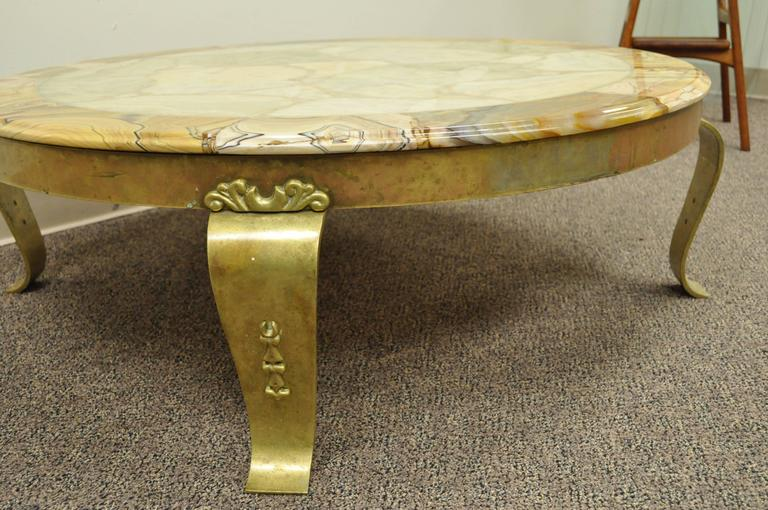 Brass and Onyx Round Coffee Table by Muller's of Mexico Attr. to Arturo Pani For Sale 1