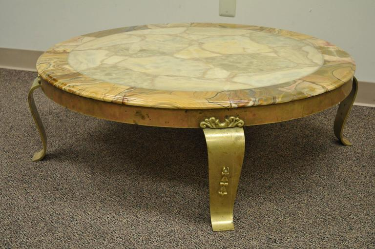 Brass and Onyx Round Coffee Table by Muller's of Mexico Attr. to Arturo Pani For Sale 3