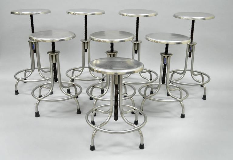 Stupendous Set Of Eight Stainless Steel American Industrial Modern Adjustable Stools Forskolin Free Trial Chair Design Images Forskolin Free Trialorg