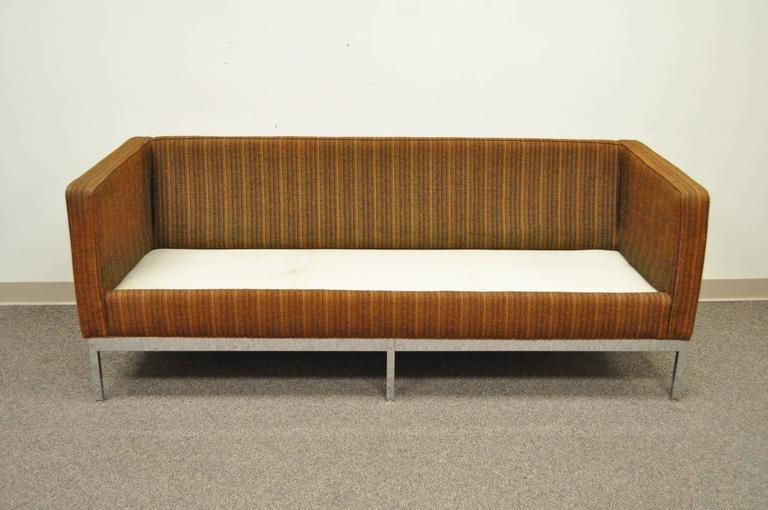 Mid Century Modern Chrome Frame Brown Case Sofa by Patrician after Milo Baughman For Sale 1