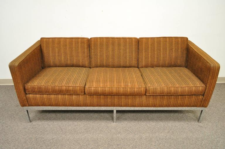 American Mid Century Modern Chrome Frame Brown Case Sofa by Patrician after Milo Baughman For Sale