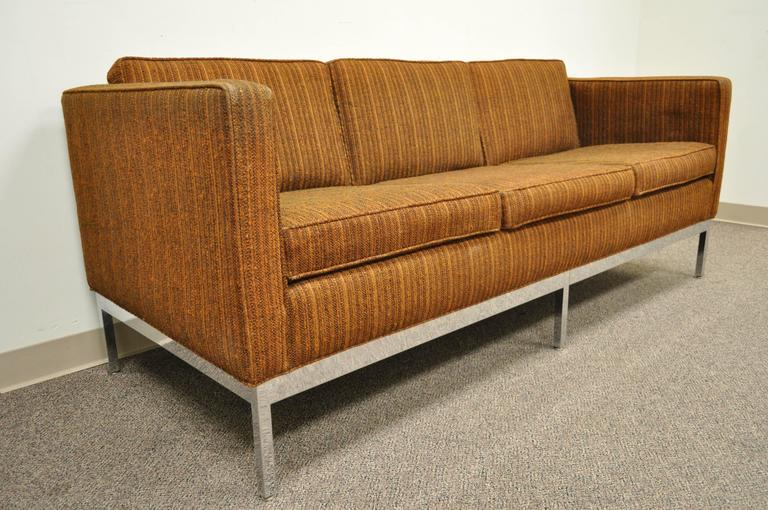 Mid Century Modern Chrome Frame Brown Case Sofa by Patrician after Milo Baughman For Sale 3