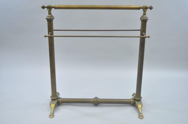 European Clasped Hands Victorian Andre Arbus Style Brass Quilt Towel Rack Stand Holder