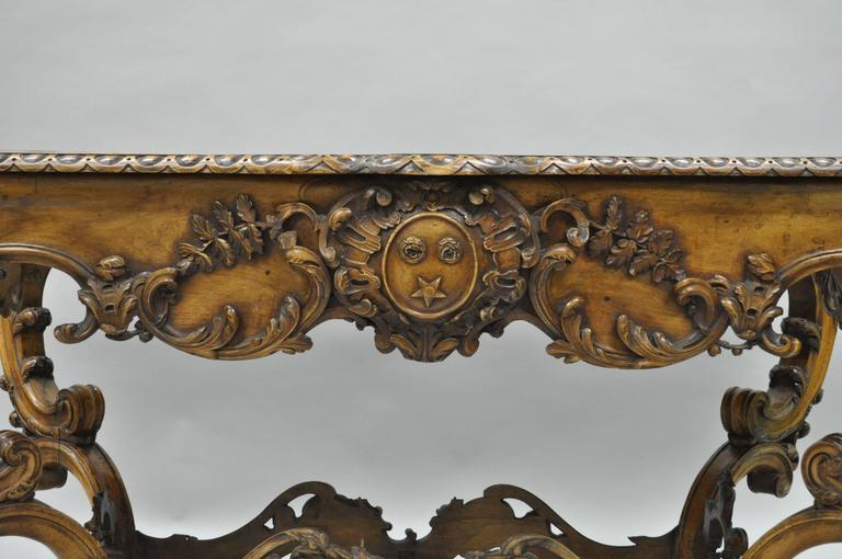 19th Century Italian Baroque Walnut Center Table in the French Louis XV Taste For Sale 5