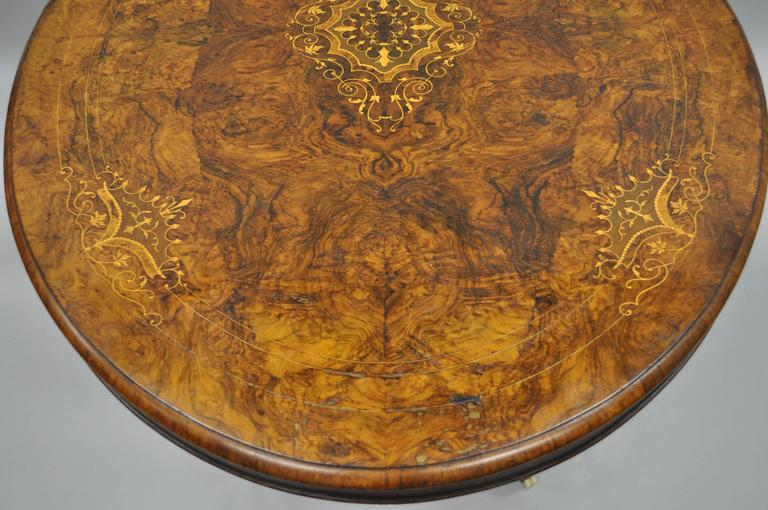 19th Century Victorian Carved Burl Walnut Tilt-Top Marquetry Inlay Center Table For Sale 2