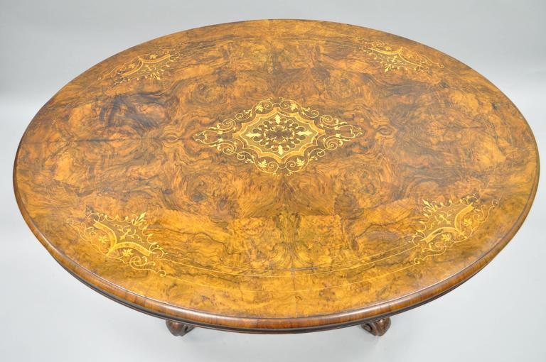 19th Century Victorian Carved Burl Walnut Tilt-Top Marquetry Inlay Center Table In Good Condition For Sale In Philadelphia, PA