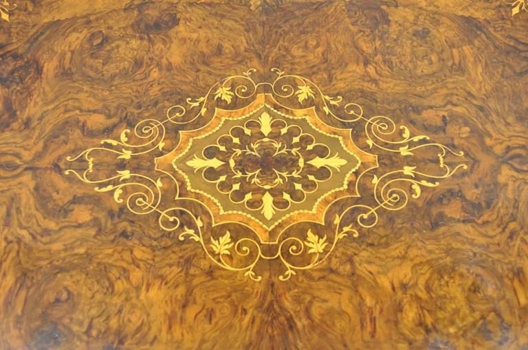 Late 19th Century 19th Century Victorian Carved Burl Walnut Tilt-Top Marquetry Inlaid Center Table For Sale