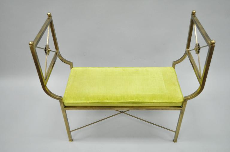 Brass Hollywood Regency Neoclassical Style Bench after Mastercraft X-Form In Good Condition For Sale In Philadelphia, PA
