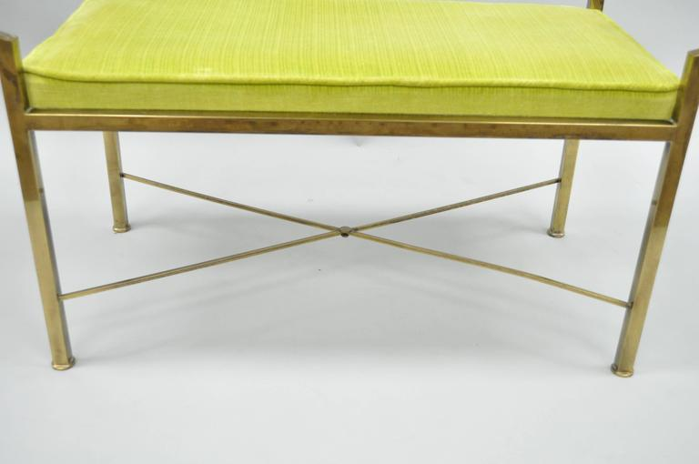 Brass Hollywood Regency Neoclassical Style Bench after Mastercraft X-Form For Sale 1