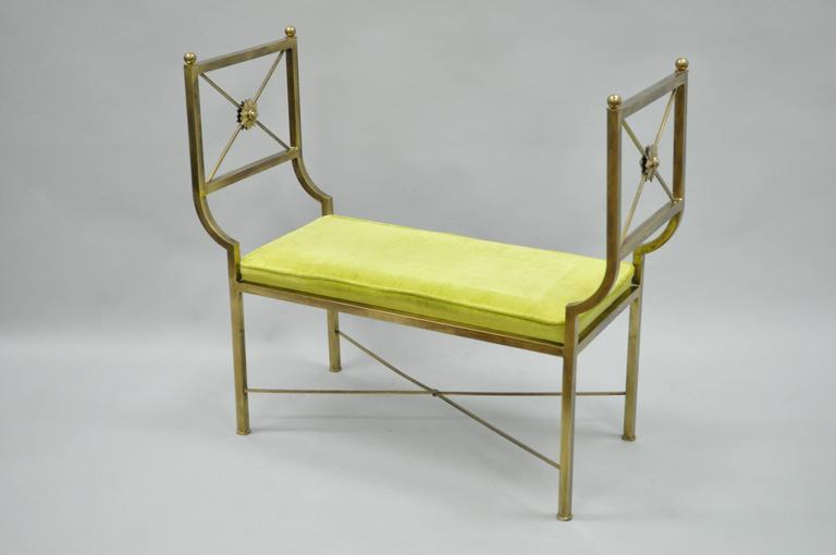 Brass Hollywood Regency Neoclassical Style Bench after Mastercraft X-Form For Sale 4