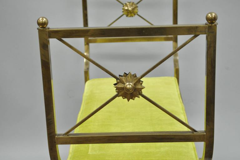 Mid-20th Century Brass Hollywood Regency Neoclassical Style Bench after Mastercraft X-Form For Sale