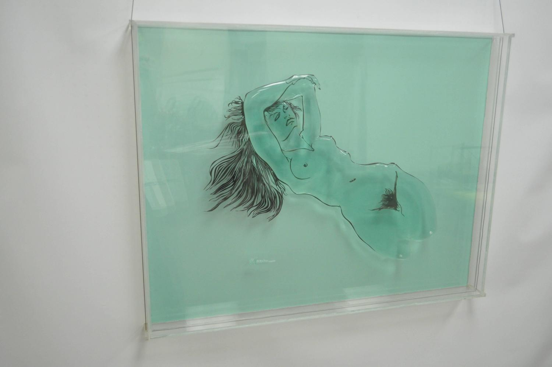 Acrylic Box To Hang On Wall : Eugene massin acrylic nude woman wall art box sculpture