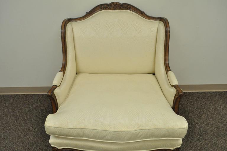 Vintage Wide Frame French Country Louis XV Style Floral Carved Bergere Arm Chair For Sale 2