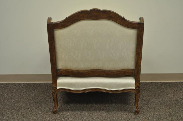 Vintage Wide Frame French Country Louis XV Style Floral Carved Bergere Arm Chair For Sale 3