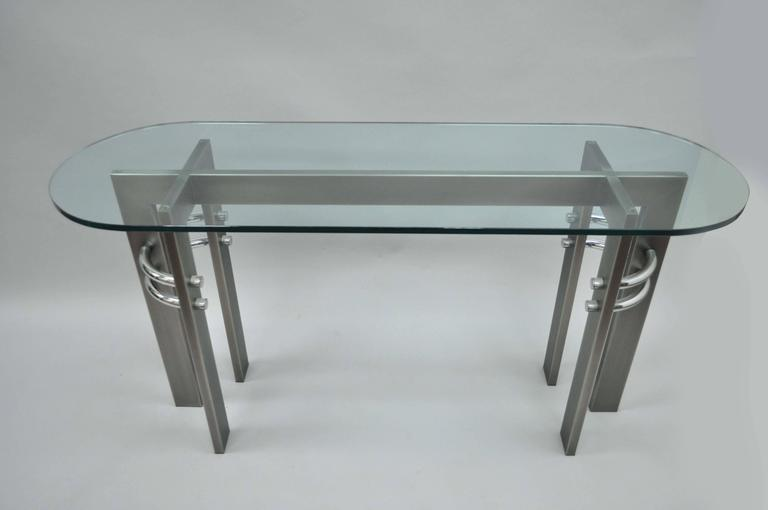 Mid-Century Modern Design Institute of America DIA Brushed Metal, Chrome and Glass Console Table For Sale