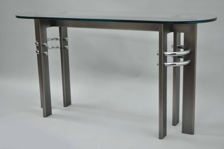 Design Institute of America DIA Brushed Metal, Chrome and Glass Console Table For Sale 1