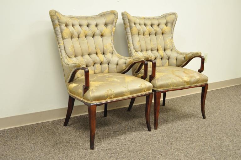 Pair Grosfeld House Hollywood Regency Mahogany Lounge Arm Chairs Dorothy Draper For Sale 3