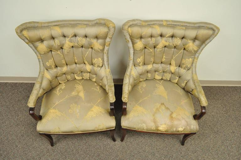 Fabric Pair Grosfeld House Hollywood Regency Mahogany Lounge Arm Chairs Dorothy Draper For Sale