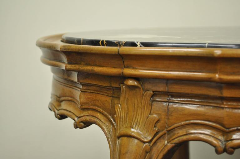 1930s French Louis XV or Country Style Oval Marble Top Walnut Coffee Table For Sale 1