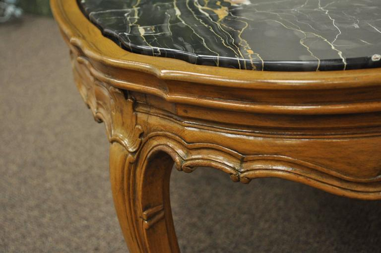 French Provincial Louis XV Country Style Oval Marble Top Walnut Coffee Table For Sale 1
