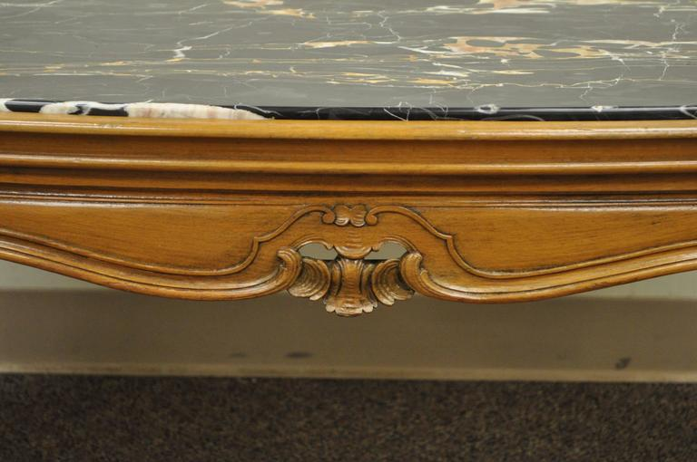 Mid-20th Century French Provincial Louis XV Country Style Oval Marble Top Walnut Coffee Table For Sale