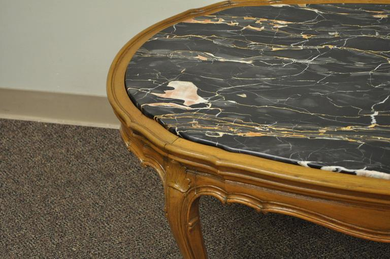 1930s French Louis XV or Country Style Oval Marble Top Walnut Coffee Table For Sale 3