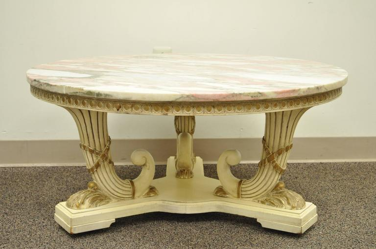 French Empire Neoclassical Cornucopia Base Round Pink Marble Top Coffee Table For Sale 5