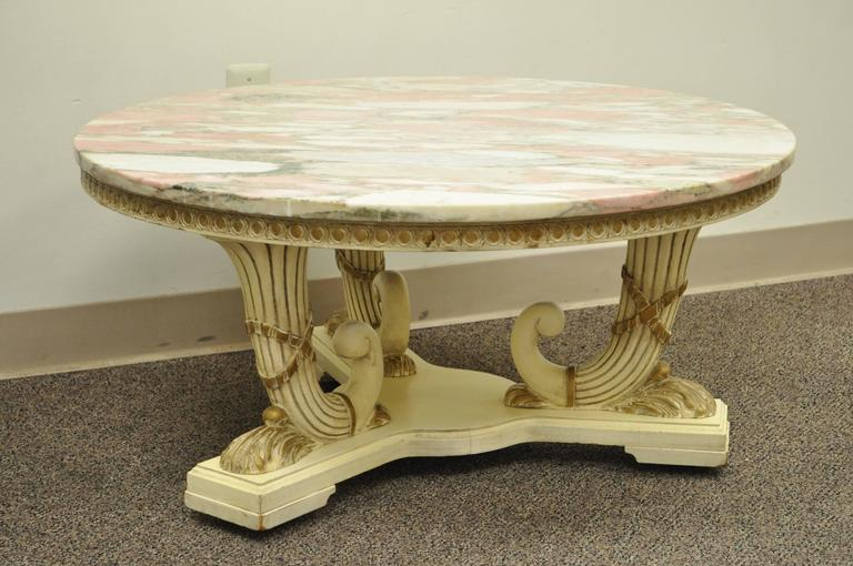French Empire Neoclassical Cornucopia Base Round Pink Marble Top Coffee Table For Sale 1
