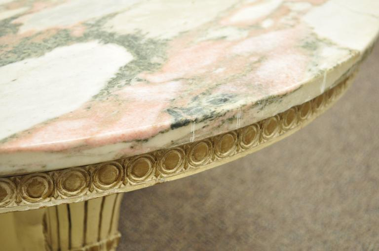 French Empire Neoclassical Cornucopia Base Round Pink Marble Top Coffee Table For Sale 3