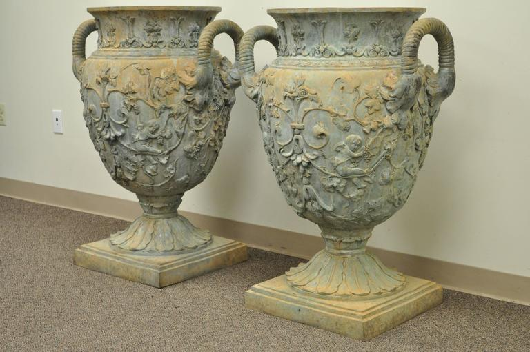 Monumental Pair of Figural Cast Bronze Neoclassical Style Garden Urns For Sale 5