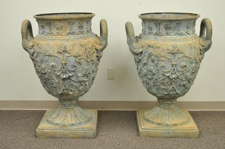 Stately and massive pair of figural cast bronze 40