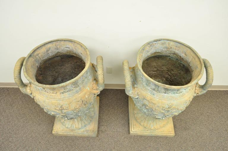 Monumental Pair of Figural Cast Bronze Neoclassical Style Garden Urns For Sale 4
