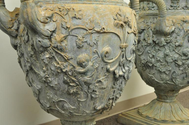 Chinese Monumental Pair of Figural Cast Bronze Neoclassical Style Garden Urns For Sale