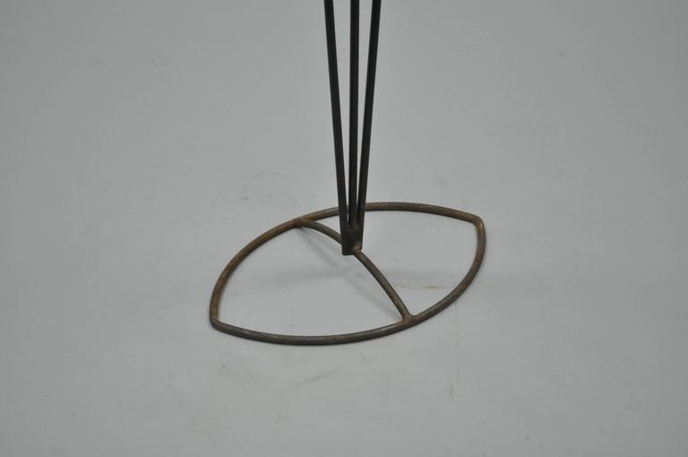 Tall Vintage Modernist Art Deco Style Wrought Iron Floor Candle Holder Stand For Sale 1