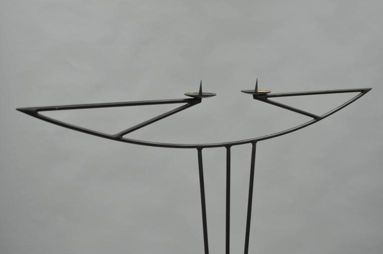 Tall Vintage Modernist Art Deco Style Wrought Iron Floor Candle Holder Stand In Good Condition For Sale In Philadelphia, PA