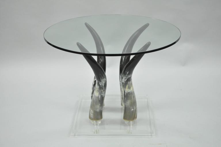 Mid Century Modern Chic Lucite and Horn Round Glass Occasional Side Table For Sale 5