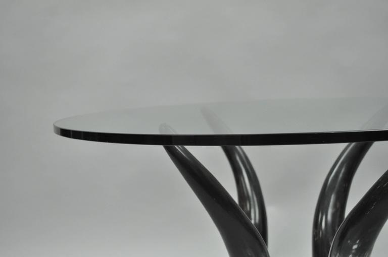 Mid Century Modern Chic Lucite and Horn Round Glass Occasional Side Table For Sale 3