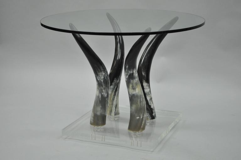 Late 20th Century Mid Century Modern Chic Lucite and Horn Round Glass Occasional Side Table For Sale